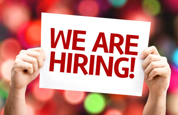 We are Hiring card with colorful background